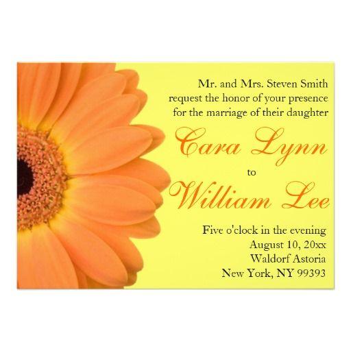 Convites alaranjados e amarelos do casamento da ma