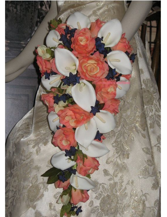 Custom Artificial Coral and Navy Cascading by ParisFlowerMarket