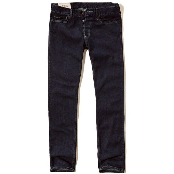 Hollister Slim Straight Jeans ($13) ❤ liked on Polyvore featuring men's fashion, men's clothing, men's jeans, rinse, mens cuffed jeans, mens slim straight jeans, mens dark jeans, mens slim cut jeans and mens slim fit jeans