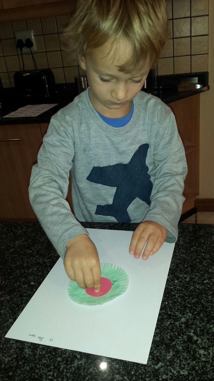 Cupcake liner watermelon craft