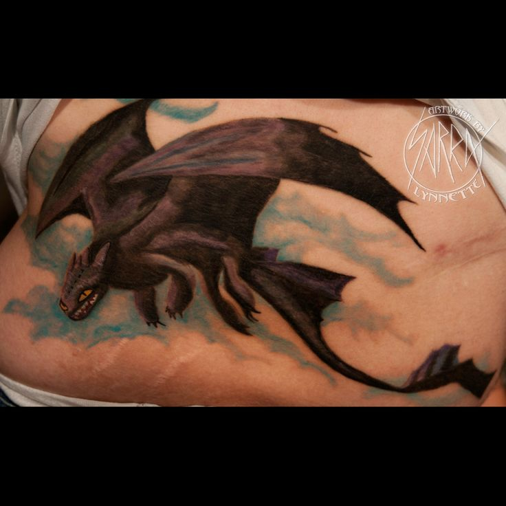 Toothless dragon tattoo by Sarra Lynnette
