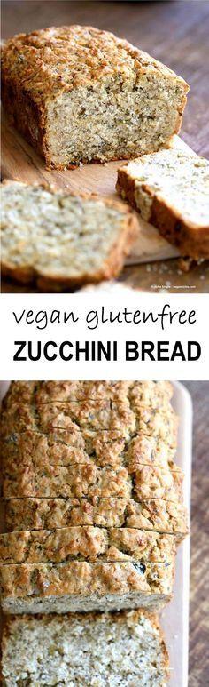 Vegan Gluten free Zucchini Bread Recipe. Moist, soft Zucchini Bread loaded with Oats, Chia seeds, Zucchini. Vegan Gluten-free gum-free Soy-free Recipe | http://VeganRicha.com
