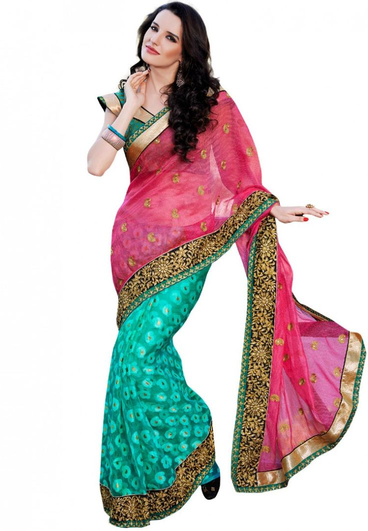 Pink Embellished Saree at $171.95 (24% OFF)