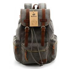 Vintage Men Casual Canvas Leather Backpack Rucksack Bookbag Satchel Hiking Bag