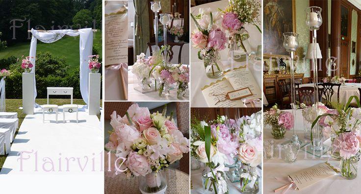 Freie Trauung mit Blumenbogen und Ast, weisser Teppich und Säulen, Vintage Kommode und Hocker....hier im Schlosshotel Kronberg im Taunus
