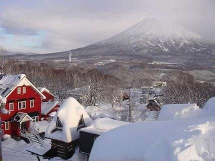White goods ... snow covers pretty Hirafu village and the distant Mount Yotei.