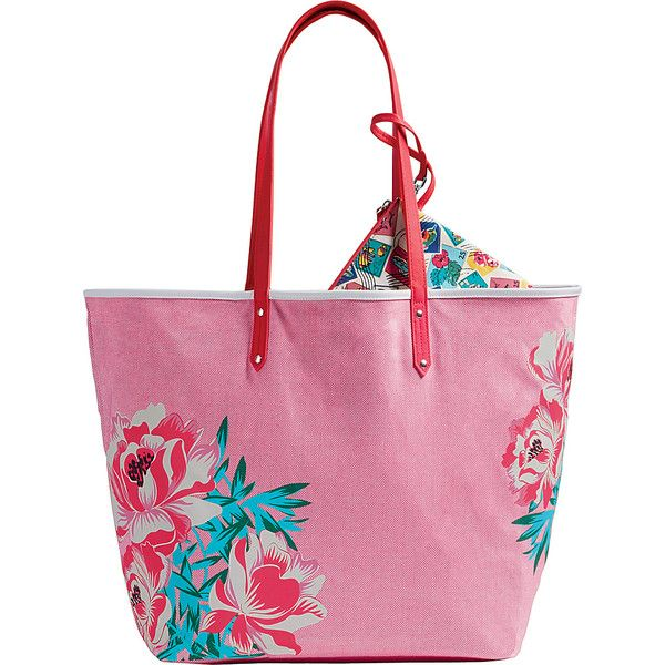 Vera Bradley Beach Tote - Oxford Floral - Totes (100 BAM) ❤ liked on Polyvore featuring bags, handbags, tote bags, pink, handbags totes, white tote, beach tote, vera bradley tote bags and floral tote bag