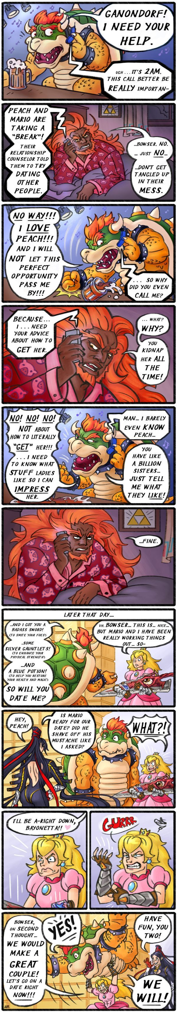 Bowser Calls Ganondorf for Help About Dating Princess Peach [Comic] Read more at https://www.geeksaresexy.net/2016/06/12/bowser-calls-ganondorf-for-help-about-dating-princess-peach-comic/#u40ih94XbbdiJrcz.99 <<< is it bad that i totally imagined G-Cash and Big Bow from Big Bad Bosses doing this