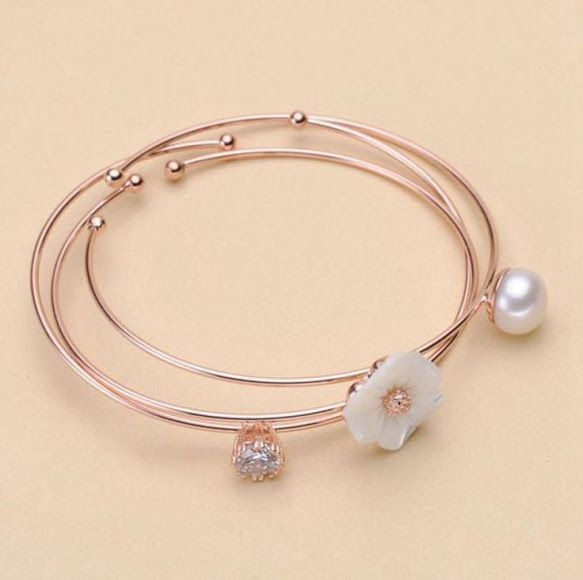 Brass #Bangle Set with #Freshwater Shell #Pearl Flower Rose Open 3-strand.