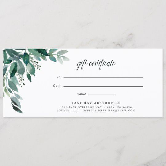 Abundant Foliage Gift Certificate | Zazzle.com in 2021 ...