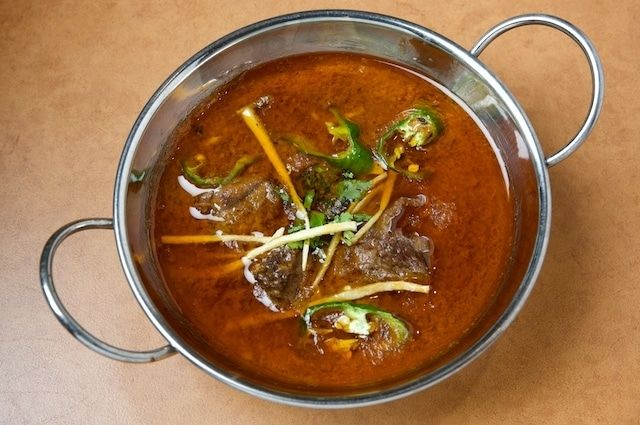 24)Nihari is a stew consisting of slow-cooked beef along with bone marrow, and is occasionally served with cooked brain. It originated during the Mughal Empire which ruled over a significant part of the Indian Subcontinent.
