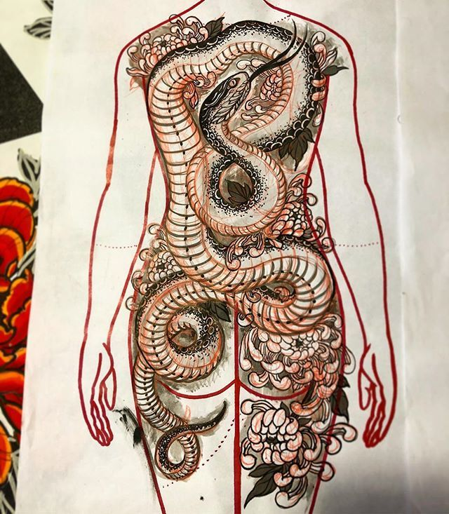 Female back piece study available to get tattooed . Black and grey / red flowers…