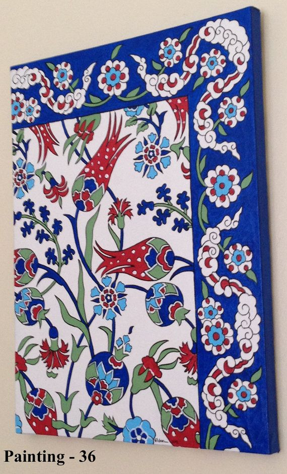 turkish tile design art paintings by LalemUSA on Etsy
