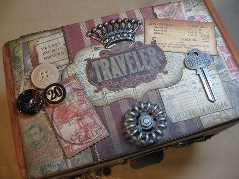 altered cigar box | Annette's Creative Journey: Altered Cigar Box on Pulley Wheels