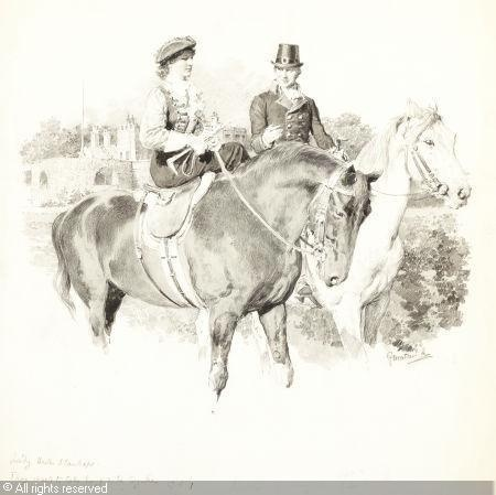 lady hester stanhope riding with william Pitt.  Curious. Not keen on his hat. But it is Walmer in the background, so kudos to the artist for that