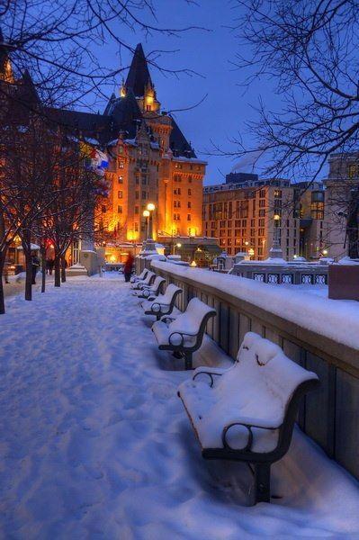 Snow in Chateau Laurier, Ottawa, Canada
