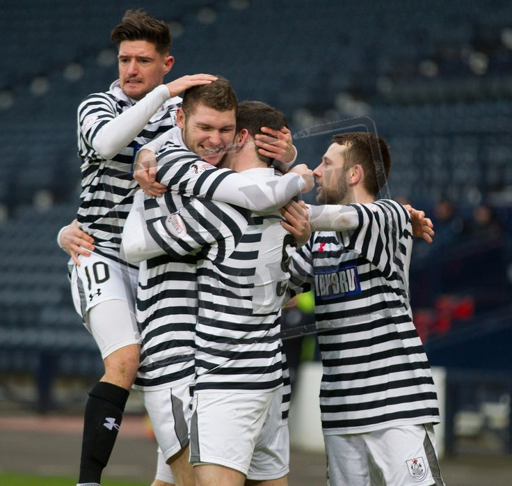 Queen's Park's players celebrate John Carter's goal during the SPFL League Two game between Queen's Park and East Fife.