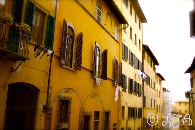 Italian Living  Florence  Yellow old terraced houses by LJAPhotography, $30.00  Tuscan lifestyle