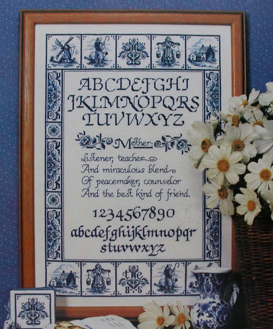 Delft Blue Mother's Day Tile Sampler Cross Stitch Pattern | eBay (I actually made this for my mom many years ago. It was a lot of work but seeing the look on her face when I gave it to her made it worth it!!)