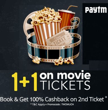 Paytm is offering 100% Cashback on 2nd Movie Ticket How to catch the offer: Click here for offer page Select Location And Movie Click on Show timingof Theatre of your Choice Select Two or more Seats Apply offer codeTWOMUCH Fill the shipping details Make final payment