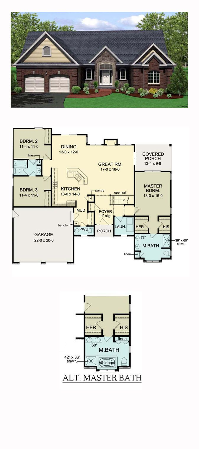 Ranch Style House Plan Switch Laundry & half bath, move porch to front  Total Living Area: 1796 sq., 3 bedrooms and bathrooms.