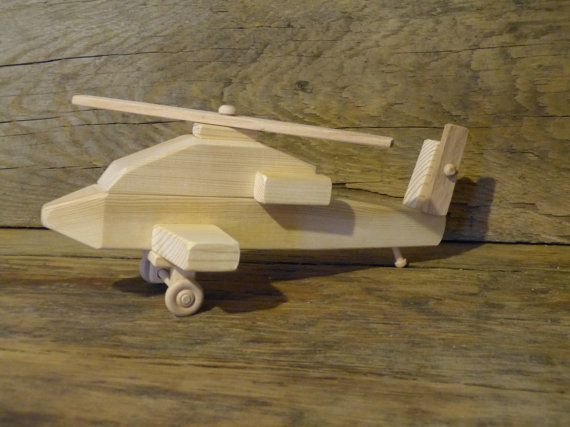 Handmade Wood Toy Apache Helicopter Wooden Toys Military