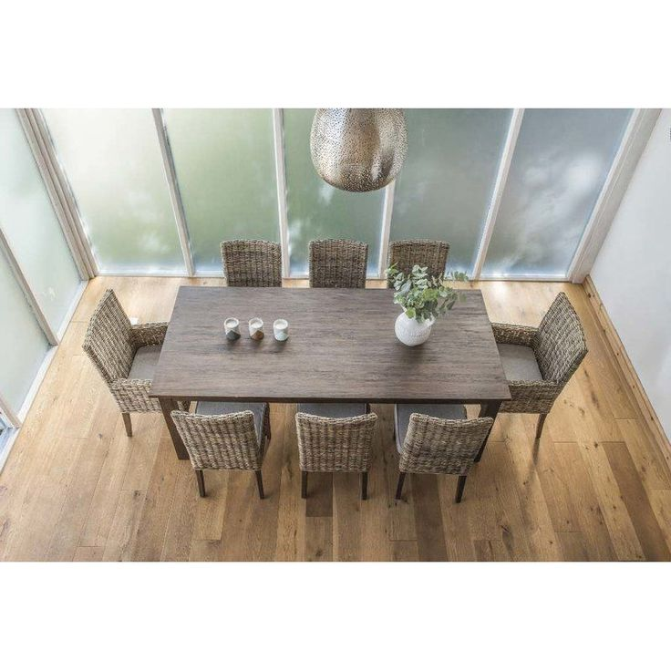 Solid Mahogany Dining Set Chairs Table Brown Seat Armchair Pad Kitchen Wooden