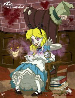 """""""Twisted Dorothy"""" from Disney's """"Alice in Wonderland"""" (1951) by Jeff Thomas Art. Ughhh.. she's very creepy as an undead. But where The White Rabbit is? I don't want to know... (hi-res: http://i.imgur.com/MBuhAuN.jpg)"""