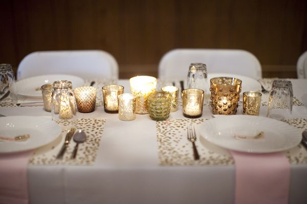 gold votive centerpieces | Genevieve Renee Photographie #wedding