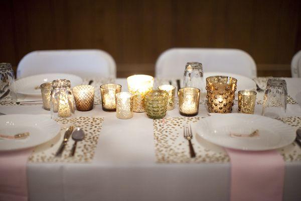 gold votive centerpieces | Genevieve Renee Photographie #wedding