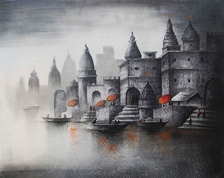 Somnath Bothe - Banaras - More artwork from Somnath Bothe is available from www.explorersfineart.com/somnath-bothe.html