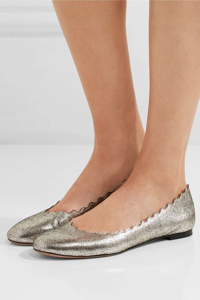 Chloé - Lauren Scalloped Metallic Cracked-leather Ballet Flats - Silver - IT41.5