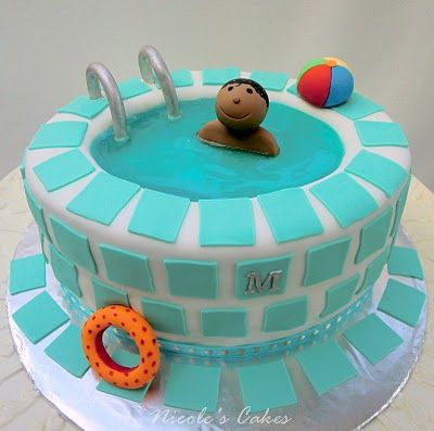I love this swimming pool with swimmer cake! So creative