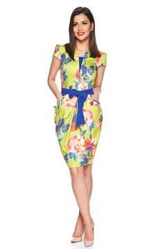 Kék Fofy midi virágmintás ruha övvel ellátva