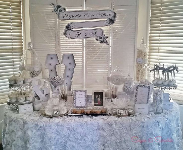 White and Silver Engagement Candy Buffet | CatchMyParty.com