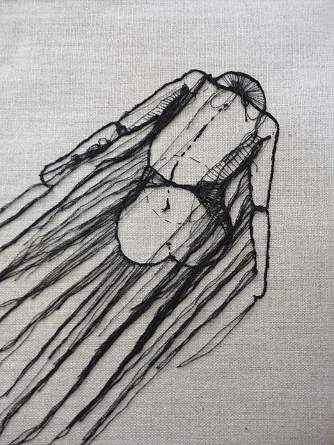 Drawing with embroidery... i may have to do a painting with string lesson next semester...