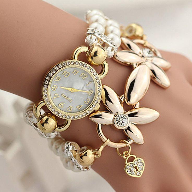 Moda Lusso Braccialetto Di Perle Quarzo Orologi Da Donna Casual Polso | eBay