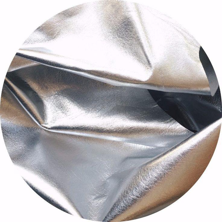 Metallic Silver Foil Lamb Nappa Leather | East Coast Leather, Australia