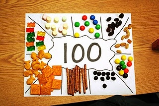 Collect 10 of each snack item on a place mat and then place in a sandwich bag to make a trail mix.