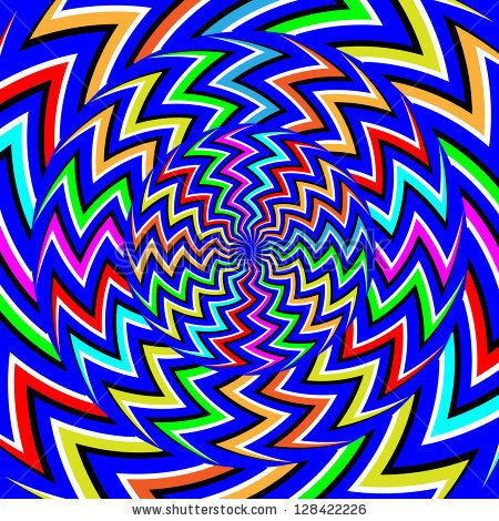 Zigzag Spinners  (motion illusion):      abstract, backdrop, background, blue, circles, colors, decoration, decorative, green, illusion, illustration, optical illusion, orange, pattern, pink, red, rotate, rotating, rotation, texture, vector, wheels, zigzag