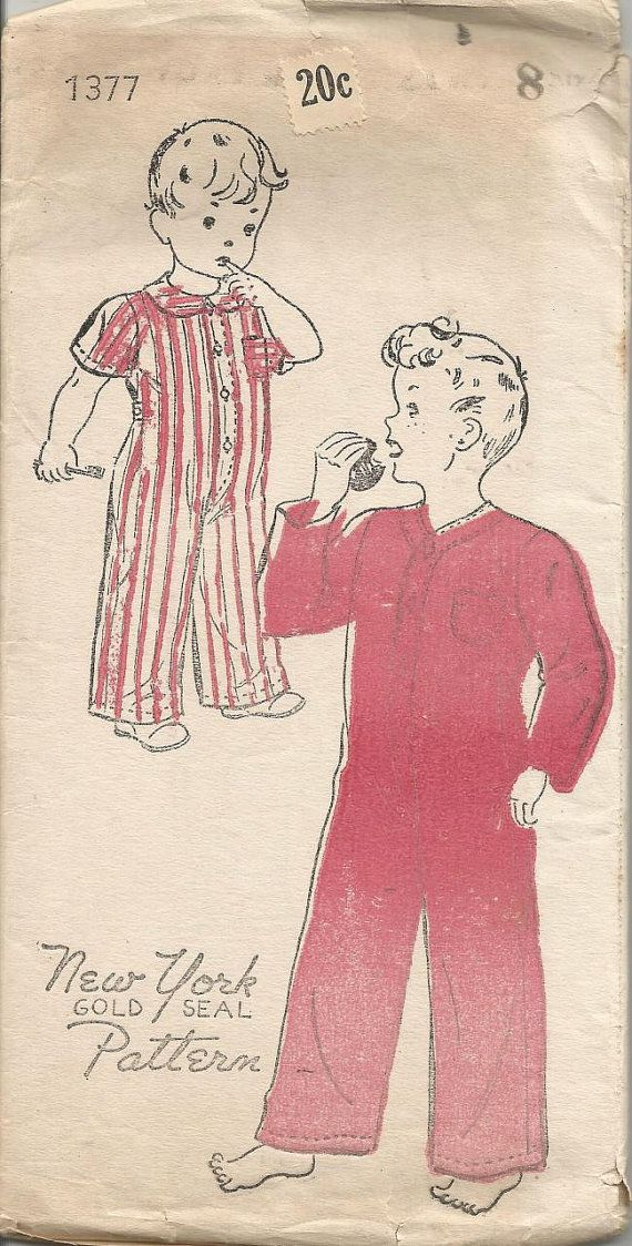 1930s Boys Pajamas Drop Seat Long or Short Sleeves by kinseysue