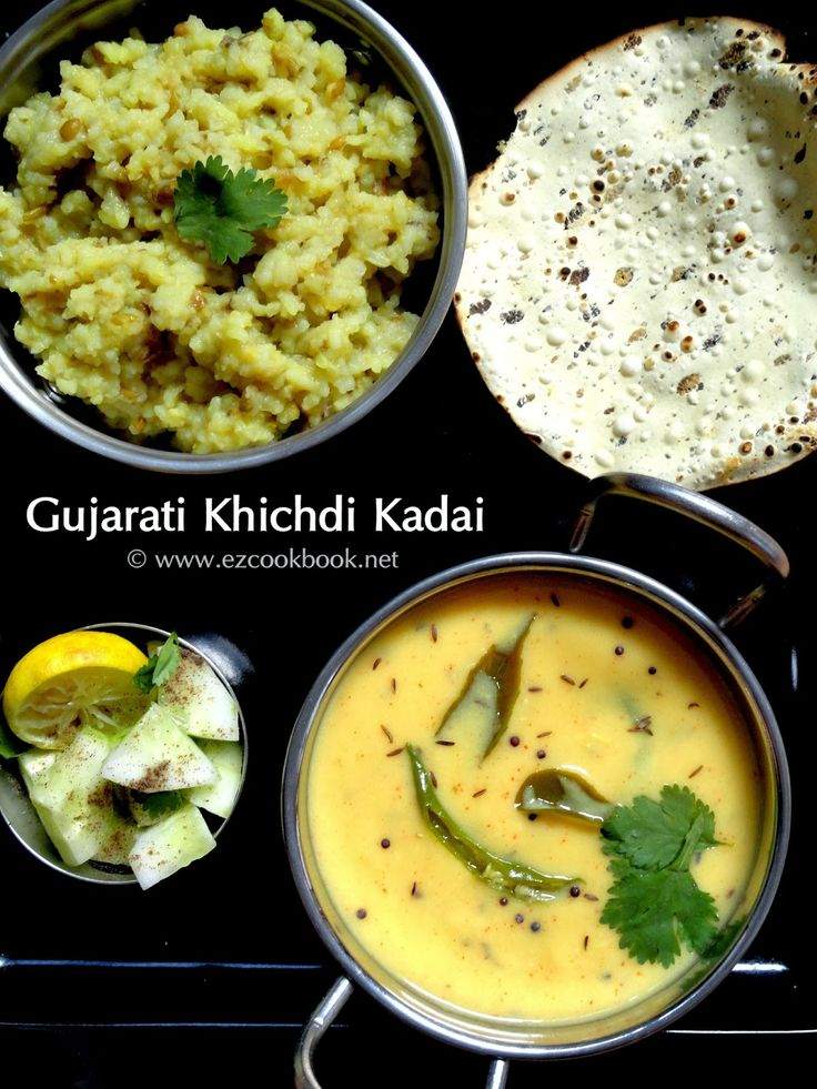 Gujarati Khichdi, kadhi with roasted papadn salad.