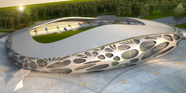 Le studio d'architecture OFISa conçu un géant stade de football à Borisov, Biélorussie. Situé dans une zone forstière au sud du centre ville Borisov, le stade est une nouvelle maison plus grande pour le FC BATE Borisov. Ainsi, l'architecture de stade est distinguée avec un renflement en forme d'anneau arrondie, donnant l'impression d'un seul object clos. Ainsi, la peau de la coupole donne une impression d'un textile perforé étiré fragile tiré sur le squelette du stade. Le stade peut ...