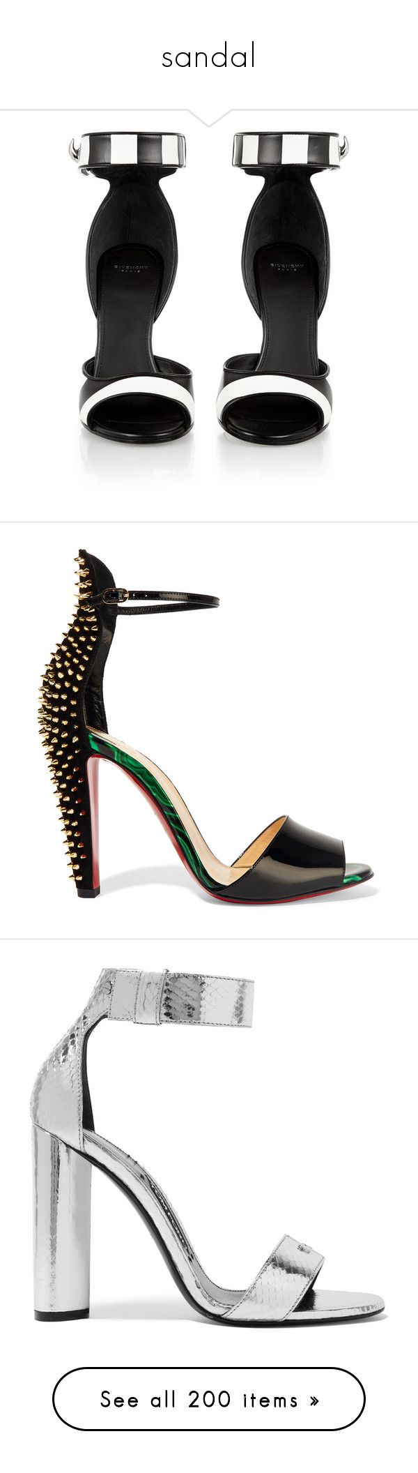 """""""sandal"""" by iriskatarina ❤ liked on Polyvore featuring shoes, sandals, heels, black and white striped shoes, high heel shoes, black and white shoes, ankle strap sandals, ankle wrap sandals, christian louboutin and louboutin"""