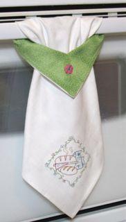 "Kitchen towel. Cute! What you need: Dish towel Coordinating fabric scrap 8 1/2"" x 5"" Small scrap of interfacing 8 1/2"" x 2 /12"" Thread Scissors Chalk"
