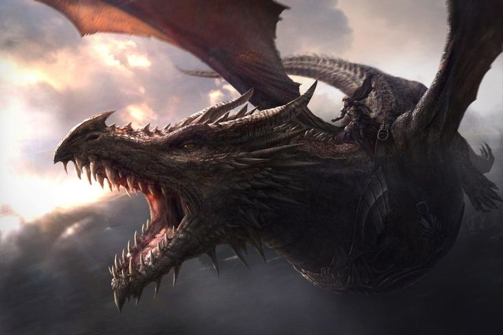 "Aegon the Conqueror standing astride his dragon mount, Balerion, the ""Black Dread."""