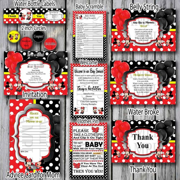Red and Black white Polka Dot Minnie/Mickey Mouse Baby shower- Minnie Mouse Red Baby shower- Polka Dot Minnie shower- Disney Baby shower by FindYourDesigns on Etsy