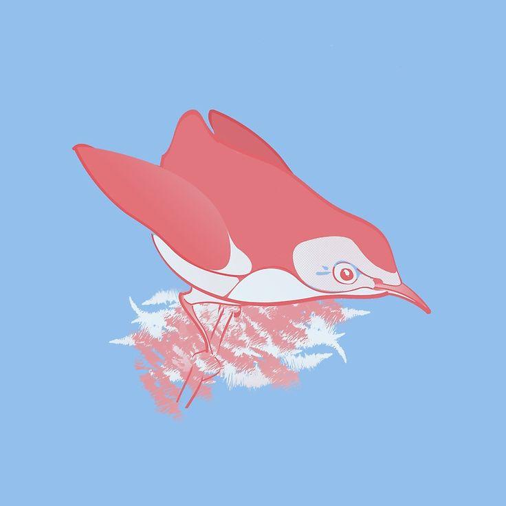 Pink Birdie! #print #pink #birdie #nature #blue #cute @oozefina
