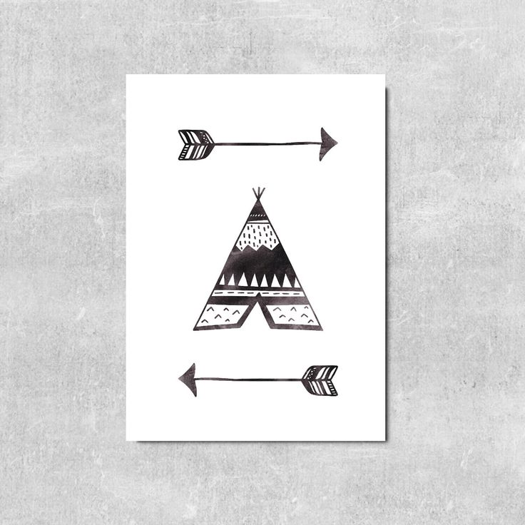 Monochrome Nursery Wall Art Tepee Print Adventure Wall Decor Boho Wall Art Arrow Print Camping Art Boho Kids Room Decor by violetandalfie on Etsy