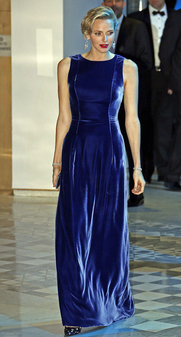 Princess Charlene of Monaco looked simply stunning in sapphire gown, she also wore a matching blue and silver embellished stilettos and carried a dainty silver clutch as she attended a charity gala on 15.11.13.